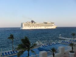 Cruise ship passing by our room.