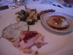 Counter-clockwise from the top:    Smoked Applewood Bacon, Hand Rolled Gnocchi with Escargot, Gi