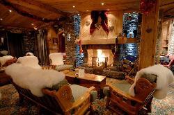 Main lounge with log fire