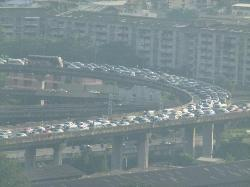 View of early evening Bangkok traffic