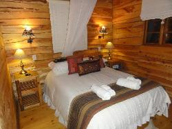 Main bedroom in the log cabins