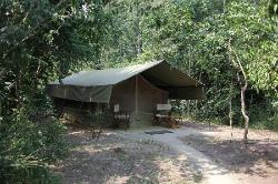 Ishasha Wilderness Camp - Tent outside