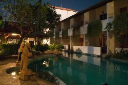 Pool area and pool access rooms (by night)