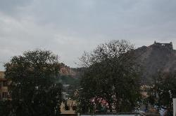 view from my room Amber fort and Jai Garh fort