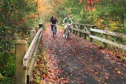 The Shining Sea bikepath is fun in any season and is a popular activity for guests of the Woods