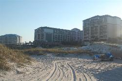 looking at hotel from beach