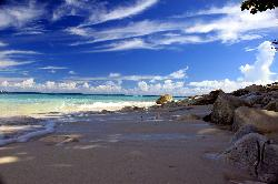 A sheltered and private beach with coral sand
