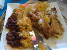 Grilled Chicken with rice, beans, vegetable medley and macaroni