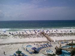 View of the beach from our 4th floor balcony