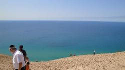 A dizzying view from the top of the Sleeping Bear Dunes