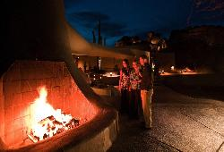 Warm up by the fire and enjoy the desert stars