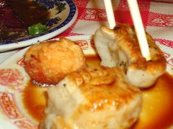 shrimp rice ball with bacon and pan fried dumplings