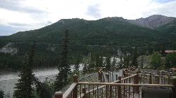 You can see the river running parallel to the lodge down below