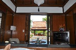 view to pool from bedroom