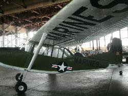 Inside the hangar- A OE-2 Bird Dog