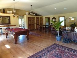 Great room with pool table and coffee maker