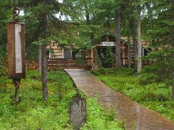 Main Lodge Entrance; boardwalks connect lodge with cabins, Kenai River behind me about 10 yards
