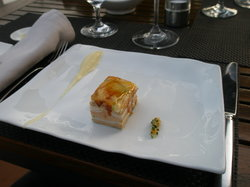 foie gras with chicken breast and caramelized apple