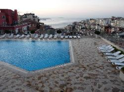 hotel pool out to Bosphorous