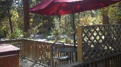 looking out at the big thompson from the deck