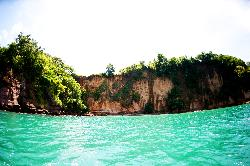 Kayaking towards Secret Bay Beach