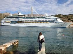 View from hotel of visiting cruise ships - each day brings a new ship