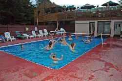 Heated swimming pool at The Forks Resort Center lodge
