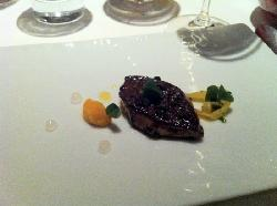 Seared duck foie gras w orange puree, endive  and white balsamic gel