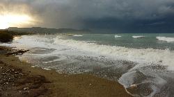Latsi beach before the storm