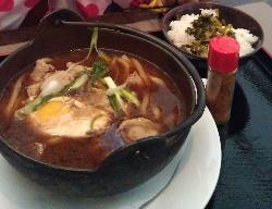 Pork and egg in miso soup