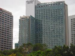 View of the hotel from the twin towers
