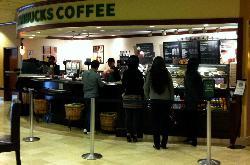 Starbucks in the hotel lobby