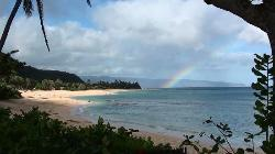 Morning rainbow from our backyard at Sunset Beach Park