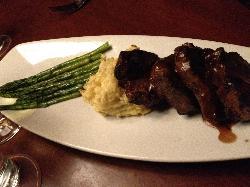 Lamb tbone with mashed potatos and asparagus