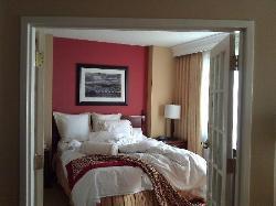 bedroom in suite with french doors open