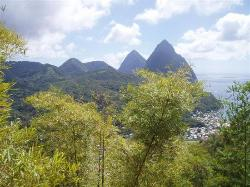 View of the Pitons from Soufriere