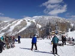 """coming out of the lunch room ready for some """"Blue Bird"""" skiing in the afternoon."""