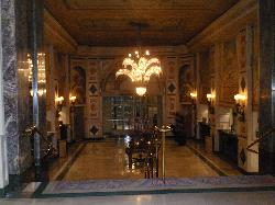 Hotel lobby looking toward the front door