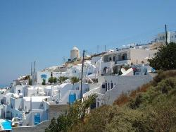 view up the hill of nearby properties