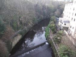 Overlooking the river from the bridge behind the hotel