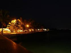 Night view to the beach from the pier.