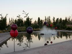 Water sculptures in gardens, in front of the spa