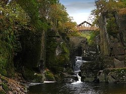 Bracklinn Falls Bridge and Callander Crags