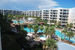 View looking toward the pools and large lazy river