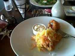 Icoa cayman style fish, mango and cho cho slaw with cassava chips