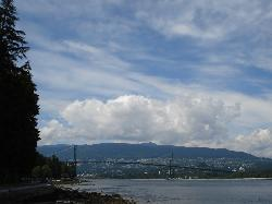Shot of Lions Gate - West Vancouver across water