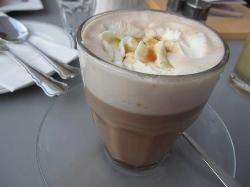 Shokoccino (mix hot chocolate, cappuccino with whipped cream and caramel)