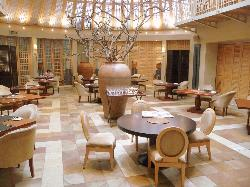 The airy dining room
