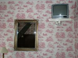 TV and mirror in bedroom