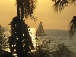 Incredible sunset with sail boat from our balcony